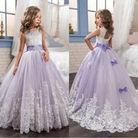 2019 Cute Purple and White Flower Girls Dresses Beaded Lace ...