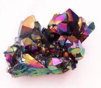 186 grammi di cluster di quarzo di rivestimento in titanio cristallo naturale aura a grappolo esemplare per decorazione stagionato