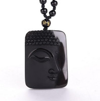 Collar de obsidiana vintage, cabeza de buda negra, colgante para mujer joyería
