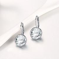 Silber Farbe Bella Ohrstecker Für Frauen Weißer Kristall Von Swarovski Mode Ohrringe Hochzeit Büro Schmuck Geschenk Neu