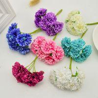 6 adet / lot karanfil yapay çiçekler scrapbooking çiçek gelin başlıklı diy malzemeleri dekoratif çiçek 3 CM el yapımı
