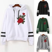 2018 Hoodies Frauen Hoodies Winter warme Frauen Hoodie Sweatshirts Frauen Rose Stickerei Langarm-Kapuzen-Sweatshirt