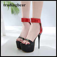 17cm super high heels red black platform shoes women summer ...