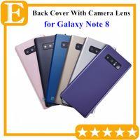 Batterie-Tür-Glasdeckel Gehäuse mit Kameraobjektiv + anhaftenden Aufkleber installierte für Samsung Galaxy Note 8 N950 Ersatzteile 50PCS