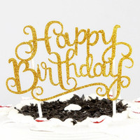 16pcs lot Happy Birthday Cake Topper Letter Cake Picks flag ...