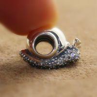 Стерлингового серебра 925 сверкающие улитка Шарм нить шарик с ясно CZ подходит Европейский Pandora стиль ювелирные изделия браслеты ожерелье