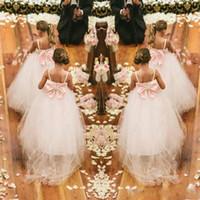 Country Ball Gown Spaghetti Straps niñas de las flores vestidos con cuentas de tul hinchado de cristal formal de los niños del desfile de vestidos de gran arco traje de espalda