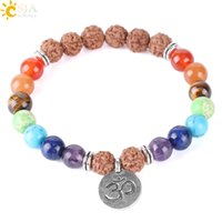 CSJA NIEUWE 7 Chakra edelsteen armband Vajra Bodhi Lava Kralen Reiki Prayer Strand Armbanden OM Aum Walnut Gevormde Yoga Meditatie Sieraden F351