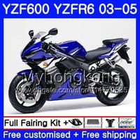 Karosserie für YAMAHA YZF-600 YZF-R6 03 YZF R6 2003 2004 2005 Karosserie 228HM.48 YZF 600 R 6 YZF600 Lager blauer Rahmen YZFR6 03 04 05 Verkleidungssatz