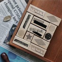 8 pezzi Vintage Basic Decoration Series timbri in legno per DIY Scrapbooking Cancelleria Scrapbooking Standard Stamp