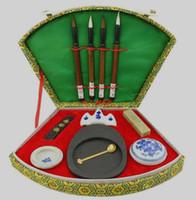 Çin kaligrafi fırçası kalem mürekkep Inkstone alet kutusu seti