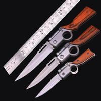 AK47 총 칼 접는 주머니칼 440 블레이드 나무 손잡이 전술 캠핑 서바이벌 나이프와 LED 라이트 야외 EDC 도구