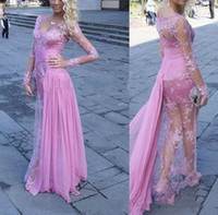 2018 New Illusion Lace Sheath Prom Dresses with V- Neck Long ...