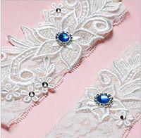 Set de dos piezas de alta calidad blanco marfil nupcial ligas con encaje Royal Blue Beads Fotos reales ligas de boda