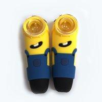 Gelbe Silikon-Handpfeife Rauchende Tabak-Rohre Minions-Mann-Design-Kieselglas-Bubbler FDA-Kräuter-Mühle freie DHL
