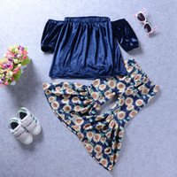 New Baby Girl Off Shoulder Velvet Top + Sunflower Bellbottom...