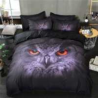 3D OWL Printed Animal Duvet Cover Purple Color With Pillowca...