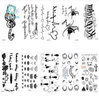 Rocooart HC151-175 Étanche Faux Tatouage Styling Outils Autocollants Serpent Pistolet Plume Noire Tatouages Temporaires Body Art Tatouage