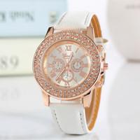 Nueva Moda de Cuero de Imitación Cronógrafo Número Romano Clásico Ginebra Cuarzo Reloj Mujer Relojes Cristales Relojes Relogio Feminino Regalo