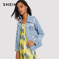 2b07d9e38f X SHEIN Light Wash Destroyed Denim Jacket Blue Button Pocket Ripped Jackets  Women Autumn Single Breasted Plain Rock Coat