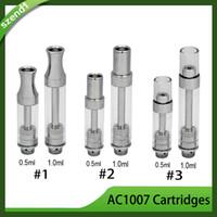 Mais novo AC1007 Cartuchos 0.5 ml 1.0 ml de Espuma De Cerâmica Pirex De Vidro Tanque para Vaporizadores de Óleo Grosso fit Pré-aqueça a Bateria 0266230