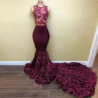 2018 New Burgundy Cascading Ruffles Flowers Mermaid Prom Dre...