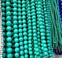 8mm gröna pärlor natursten toppkvalitet malm runda lösa pärlor bollstorlek 6/8/10 / 12mm handgjorda smycken armband gör DIY