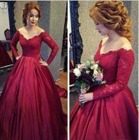 Vintage Long Sleeve Dark Red Lace Prom Dresses 2018 Off- Shou...