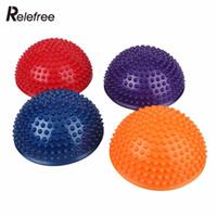 Relefree PVC Şişme Yarım Yoga Topları Masaj Noktası Fitball Egzersizleri Eğitmen Sabitleyici GYM Pilates Fitness Dengeleme Topu