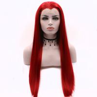 Rojo sintético del frente del cordón de la peluca recta larga sintética sin cola de color rojo de encaje pelucas para las mujeres fibra resistente al calor con el bebé Pelos