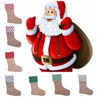 Рождественские украшения холст носки чулок подарок мешок чулок 30 * 45 см Рождественская елка украшения носки Xmas чулки 7styles GGA664 50 шт.