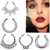 Fashion falso setto medico titanio naso anello borchie piercing argento cristallo indiano corpo clip clip per le donne ragazze regalo gioielli