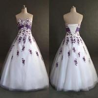 Verklig bild Vit och lila applique bröllopsklänningar A-line Sweetheart Tulle Long Bridal Gowns Vestios de äktenskap 2019 Hot Selling New W123