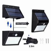 Açık 28 LED'ler Bölünmüş Güneş Enerjili Ampul PIR Hareket Sensörü 3 Modları Su geçirmez Ayrı Bahçe Sokak Gece Lambası Uzatma Kablosunu 8.2ft