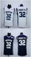 Brigham Young Cougars Maillots Jimmer Fredette College 32 32 Maillots Jimmer Fredette Cousus Bleu Marine