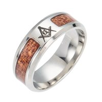 whole saleADOMANER Stainless Steel Acacia Rings Inlaid Solid...