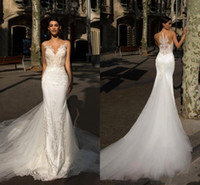 2019 Milla Nova Lace Mermaid Abiti da sposa Sheer Neck Lace Applique Sweep Train Abiti da sposa Abiti da sposa abiti da sposa BC0089