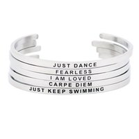 Stainless Steel Bangle Engraved Positive Inspirational Quote...