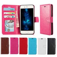 For Iphone X Samsung S8 S9 Plus Wallet Case For Note 8 PU Le...