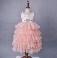 Kızlar Dantel Prenses Elbiseler Yaz Çocuklar Rhinestones Kemer Askı Tiere Tül Tutu Elbise Çocuk Uzun Uzunlukta Parti Elbise A00380