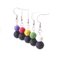 8mm 10mm Colourful Lava Stone Earrings Necklace DIY Aromathe...