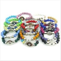 Commercio all'ingrosso 17pcs / lot braccialetto elastico fatto a mano colore della miscela perline con strass braccialetto pulsante per 18mm scatta gioielli