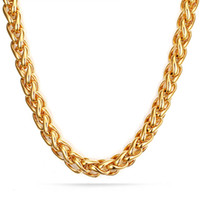 Fashion Bling Mens Gold Chain 7mm Wide 28inch Titanium Stain...