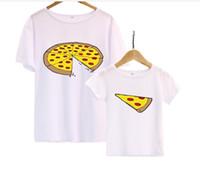 Macio Confortável Família Combinando Roupas Mãe crianças Bonito Pizza de Algodão de Manga Curta T-shirt de Verão Pai Mãe Roupas de Bebê