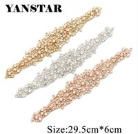 YANSTAR 1 PIECE Bridal Belt Rhinestones Appliques Clear Rose Gold Crystal Iron  On For Wedding Dress DIY Bridal Sash YS846 a48168cf9233