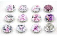 Darmowa Wysyłka Różowa wstążka Rak piersi Świadomość Snap Przyciski Charms 18mm DIY Snaps Wymienne przyciski na bransoletki jubilerskie
