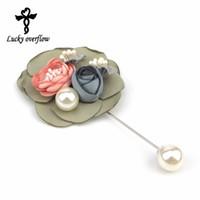 Novas Mulheres Da Moda Broches de Flores De Tecido Mulheres Mulheres Pin Broches de Lapela para Presente Handmade Broche de Casamento Ternos Acessórios