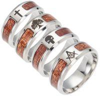 뜨거운 스테인레스 스틸 보석 반지 도매 상감 아카시아 나무 반 반지 크리 에이 티브 부티크 성격의 반지 명소
