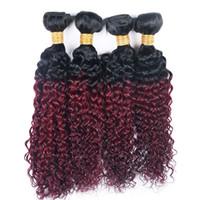 Kinky Kıvırcık 4 Demetleri T 1B 99J Ombre Koyu Şarap Kırmızı İki Ton Renk Ucuz Brezilyalı Virgin İnsan Saç Dokuma 4 Paketler uzatma