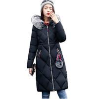 Womens Winter Jacken mit Kapuze Faux Pelzkragen Extra langen Mantel Frau Parka Solid Cotton Padded Warm Outwear